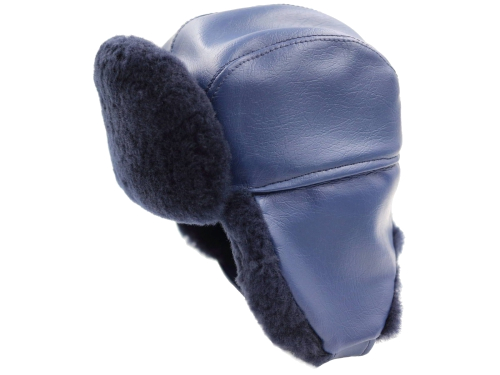 Navy Blue Fur Cap Open